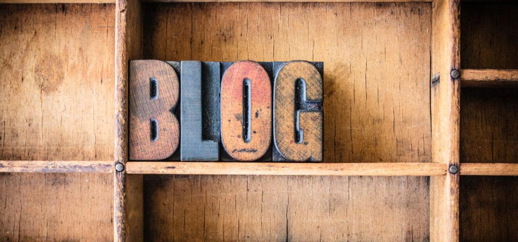 Blog as giant letters on a bookshelf