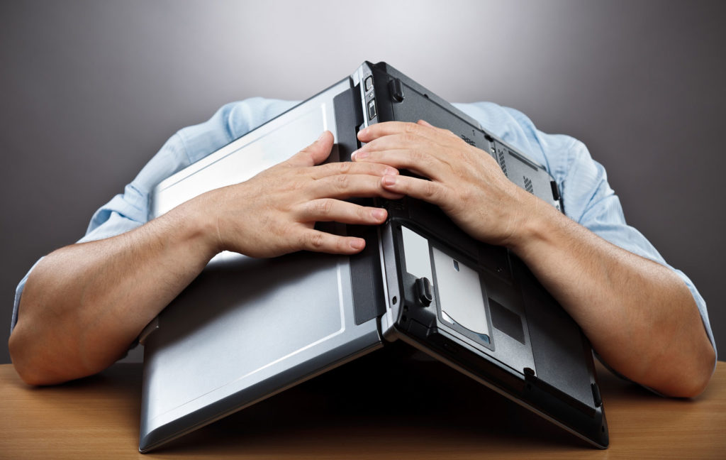 Frustrated blogger with writers block