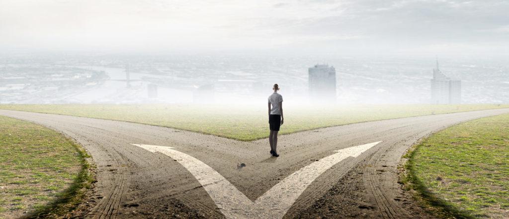 Woman Choosing a Path to Take